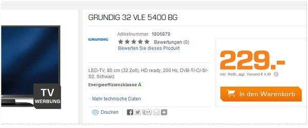 Grundig Fernseher aus der Saturn Werbung am Montag für 229 Euro