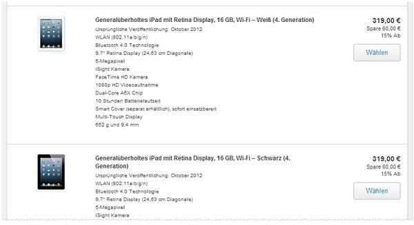 iPad 4 refurbished im Apple Outlet