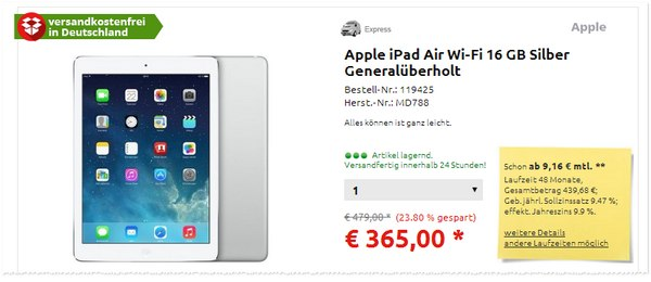 iPad Air generalüberholt