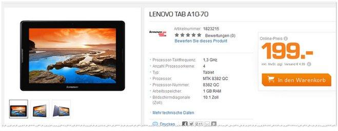 Lenovo Tablet Saturn Werbung 199 Euro