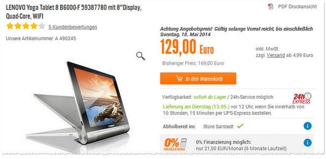 Lenovo Yoga Tablet günstiger