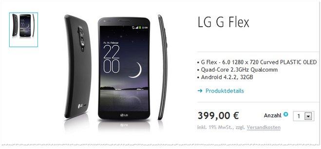 LG G Flex ohne Vertrag im Angebot