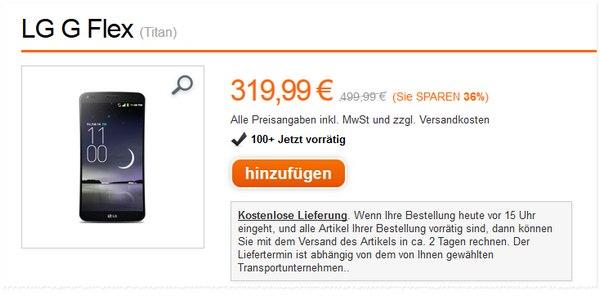 LG G Flex ohne Vertrag bei Orange für 319,99 € - mit 10% Gutschein noch günstiger!