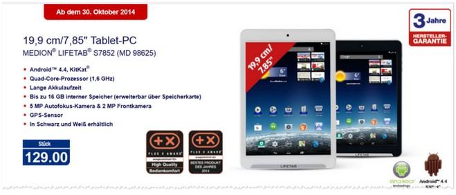 Medion Lifetab S7852 Tablet ab 30. Oktober 2014