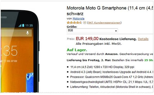 Motorola Moto G Preis ohne Vertrag