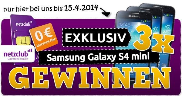 netzclub Gewinnspiel Samsung Galaxy S4 mini