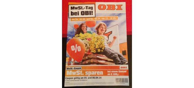 OBI Mehrwertsteuertage Flyer mit Coupon