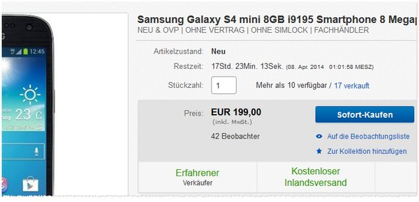 Samsung Galaxy S4 mini billig kaufen