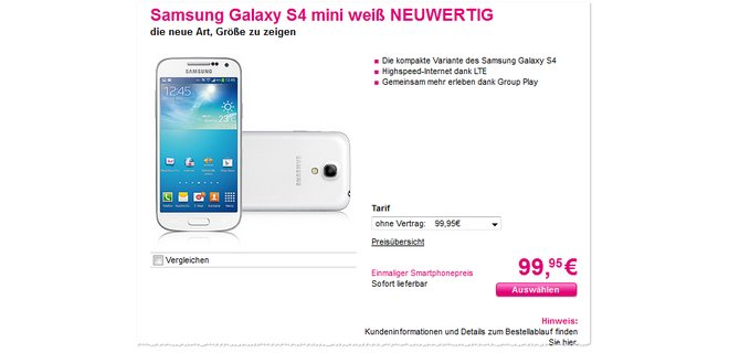 Samsung Galaxy S4 mini Telekom Preisfehler