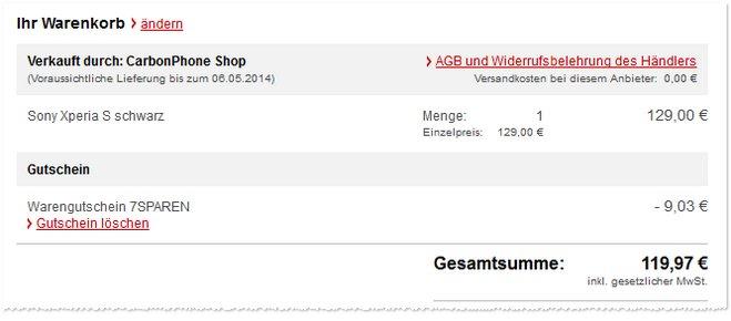 Sony Xperia S Angebot Preis