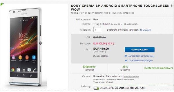 Sony Xperia SP Preis ohne Vertrag