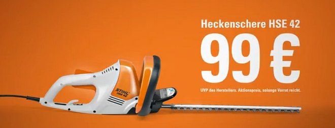 stihl hse 42 heckenschere f r 99. Black Bedroom Furniture Sets. Home Design Ideas
