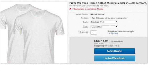 Weisse Puma-Rundhals-T-Shirts für 14,95 €