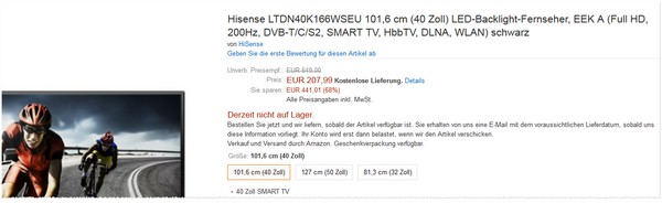 Hisense LTDN40K166WSEU