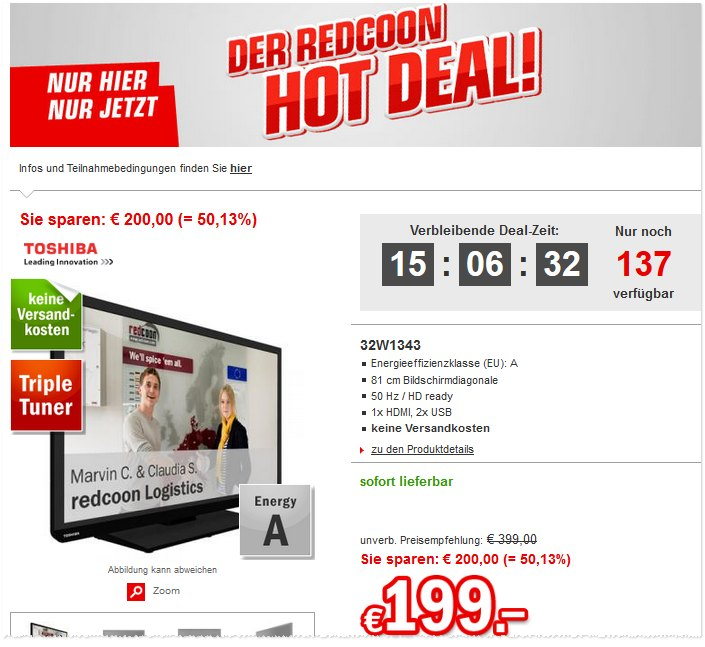 Toshiba 32W1343DG als Redcoon Hot Deal