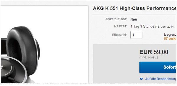 AKG K551: Cyberport Outlet Preis
