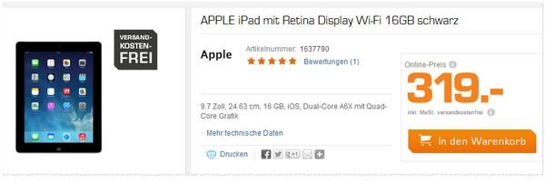 Apple iPad 4 in der Saturn-Werbung für 319 €