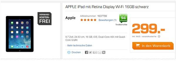 Apple iPad 4 WiFi mit Retina-Display in der Saturn-Werbung für 299 Euro