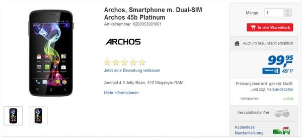 Archos 45b Platinum aus der Real Werbung
