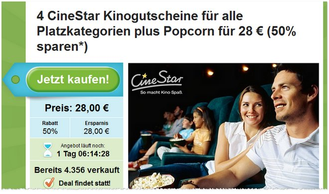 CineStar Kino Ticket Gutschein