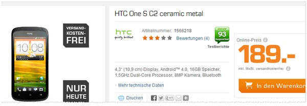 HTC One S2 Angebot