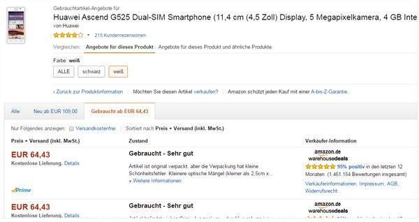 Huawei Ascend G525 ohne Vertrag zum Amazon Outlet-Preis von 65 €