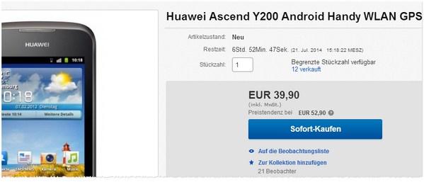 Huawei Ascend Y200 ohne Vertrag kaufen
