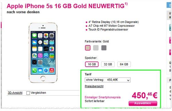iPhone 5S ohne Vertrag neuwertig kaufen bei der Telekom