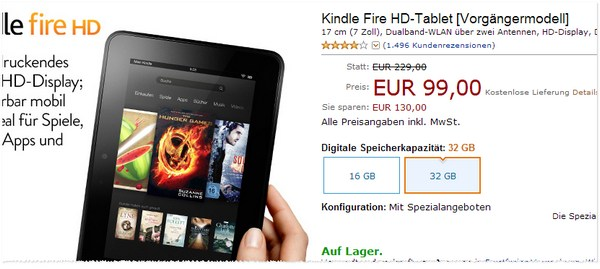 Kindle Fire HD 32 GB für 99 €