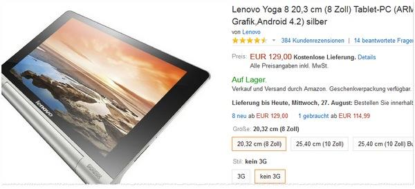 Lenovo Yoga 8 günstiger