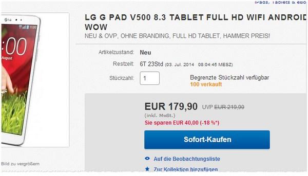 LG G Pad Angebot