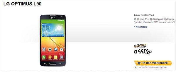 LG Optimus L90 bei Medion reduziert