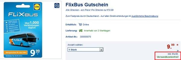 LIDL Flixbus Gutschein