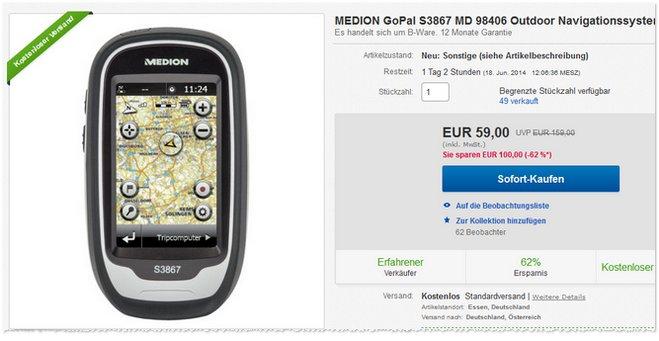 Medion GoPal S3867 MD 98406 B-Ware