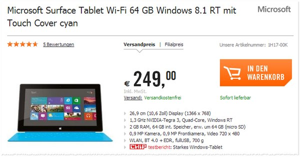 Microsoft Surface Tablet 64 GB bei Cyberport