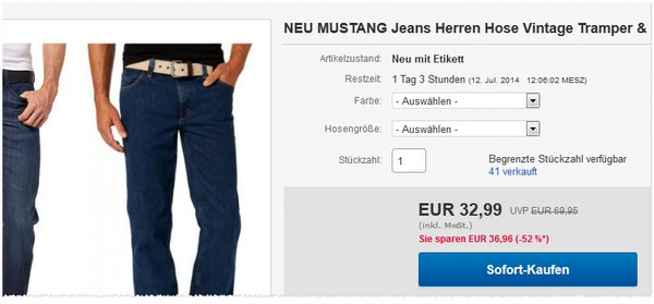 Mustang Jeans im Outlet kaufen
