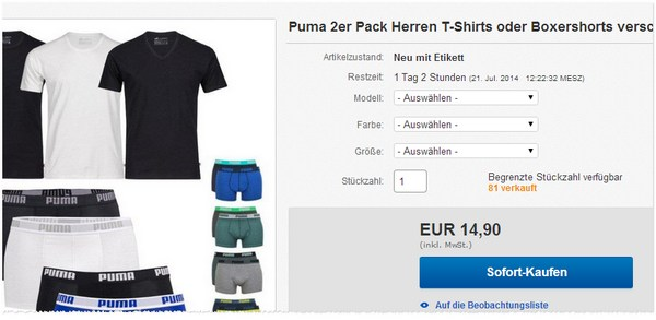 Puma 2er-Pack: T-Shirts günstiger kaufen