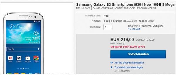 Samsung Galaxy S3 i9301 ohne Vertrag kaufen