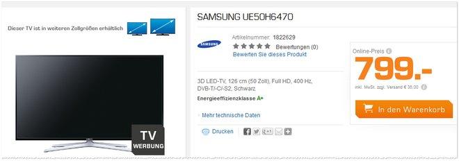 Samsung UE50H6470 Saturn-Werbung