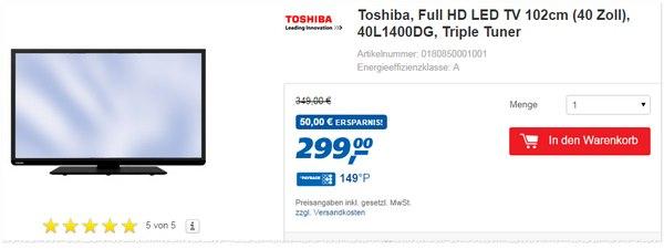 Toshiba 40l1400dg als Real Angebot
