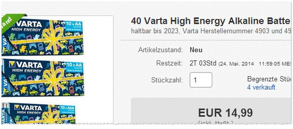 Varta High Energy Alkaline Angebot