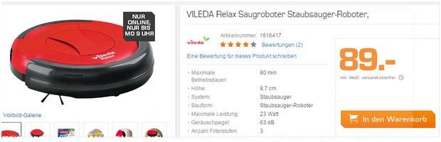 Vileda Relax bei Saturn im Onlineshop für 89 €