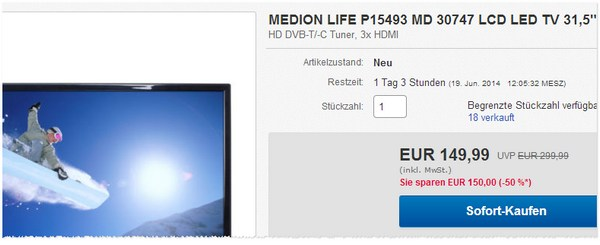 Medion Life P15493 MD 30747 Outlet-Preis