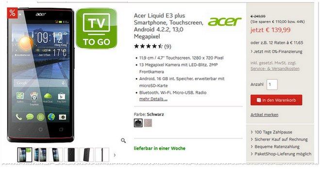 Acer Liquid E3 Plus ohne Vertrag günstig
