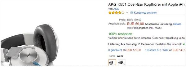 AKG K551 in Weiß am Amazon Cyber Monday