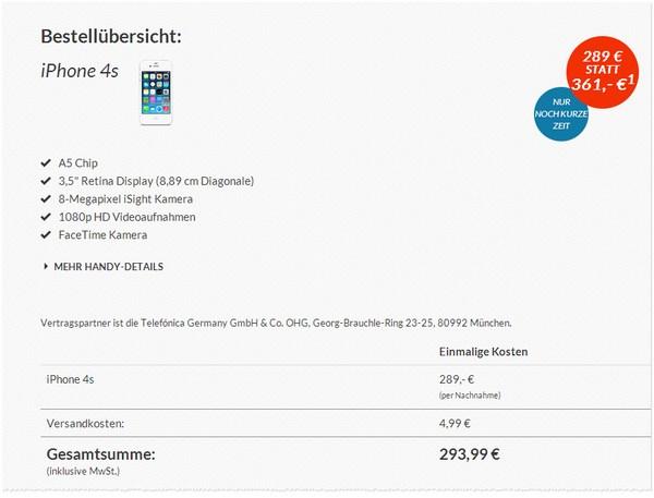 Apple iPhone 4S ohne Vertrag kaufen bei den Blue Deals