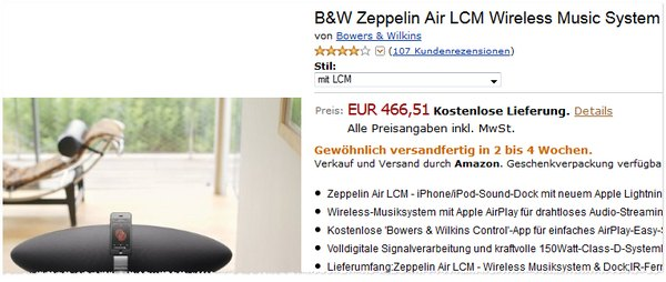 Bowers & Wilkins Zeppelin Air LCM Preis