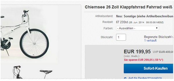 Chiemsee Klappfahrrad 26 Zoll