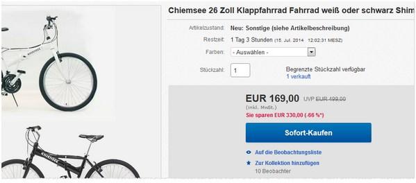 Chiemsee Moutainbike Klapprad kaufen