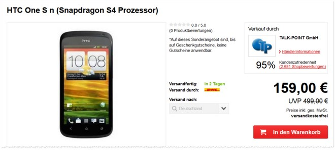 HTC One S Angebot